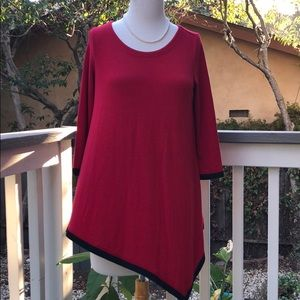 Chelsea & Theodore red asymmetrical tunic size sm